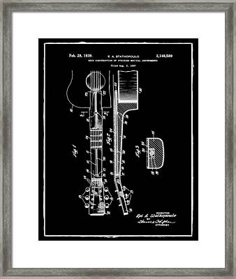 Epiphone Guitar Patent 1939 Black Framed Print by Bill Cannon