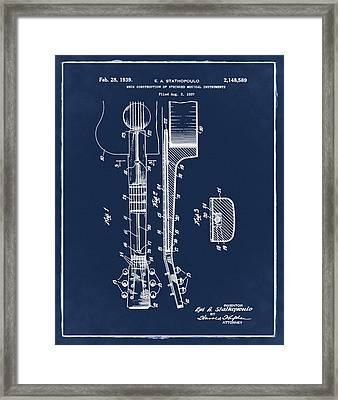 Epiphone Guitar Patent 1939 Blue Framed Print by Bill Cannon
