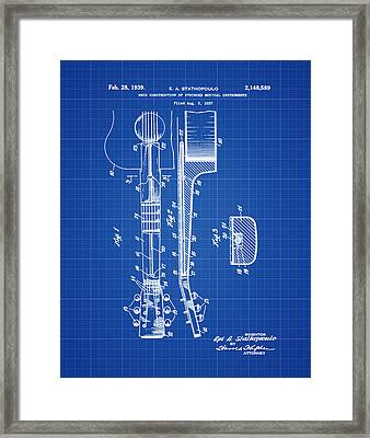 Epiphone Guitar Patent 1939 Blue Print Framed Print by Bill Cannon