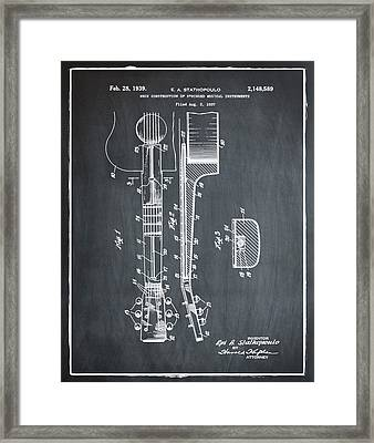 Epiphone Guitar Patent 1939 Chalk Framed Print by Bill Cannon