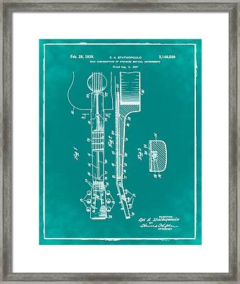 Epiphone Guitar Patent 1939 Green Framed Print by Bill Cannon