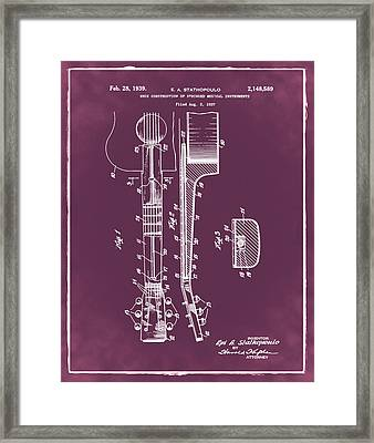 Epiphone Guitar Patent 1939 Red Framed Print by Bill Cannon