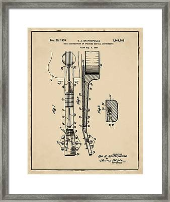Epiphone Guitar Patent 1939 Sepia Framed Print by Bill Cannon