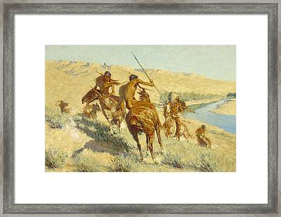 Episode Of The Buffalo Gun Framed Print by Frederic Remington