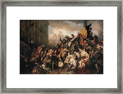 Episode Of The September Days 1830 On The Grand Place Of Brussels Framed Print