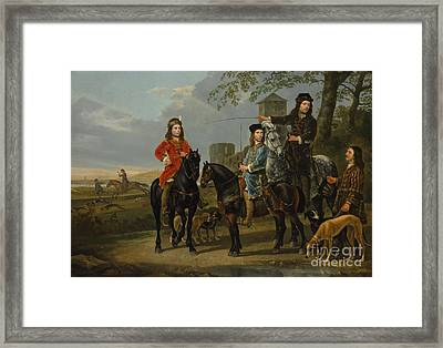 Equestrian Portrait Of Cornelis And Michiel Pompe Van Meerdervoort With Their Tutor And Coachman, St Framed Print