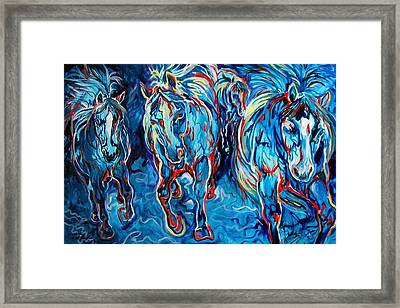 Equine Abstract Blue Four By M Baldwin Framed Print by Marcia Baldwin