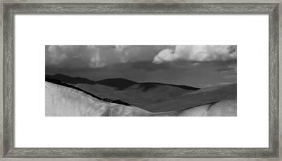 Equuscape - Equine Landscape In Black And White Framed Print by Debra Sabeck