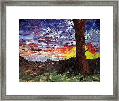 Framed Print featuring the painting Erda Sunset by Jane Autry