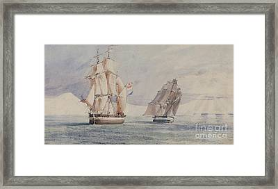 Erebus And Terror In The Ross Sea Framed Print