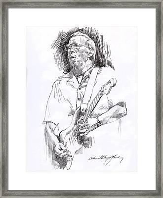 Eric Clapton Blue Framed Print by David Lloyd Glover