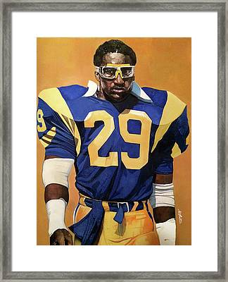 Eric Dickerson Los Angeles Rams Framed Print by Michael  Pattison