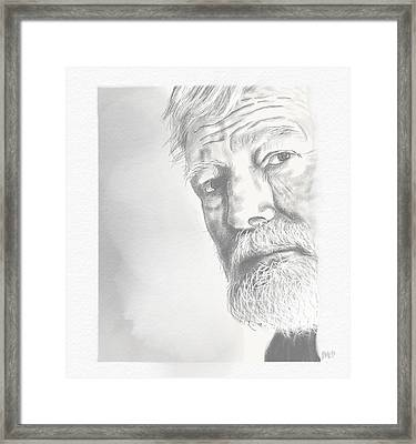 Framed Print featuring the drawing Ernest Hemingway by Antonio Romero