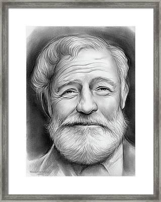 Ernest Hemingway Framed Print by Greg Joens