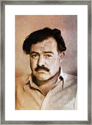 Ernest Hemingway, Literary Legend By Mary Bassett Framed Print by Mary Bassett