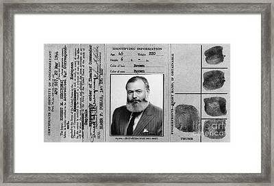 Ernest Hemingway Military Identification  Framed Print