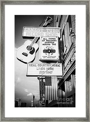 ernest tubbs record shop on broadway downtown Nashville Tennessee USA Framed Print by Joe Fox