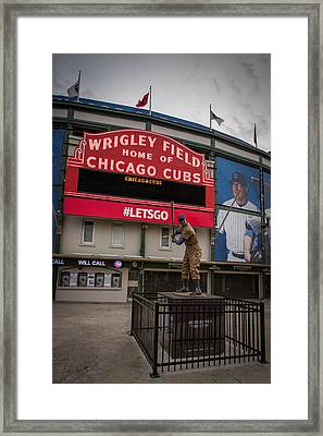 Ernie Banks Wrigley Field Framed Print by Mike Burgquist