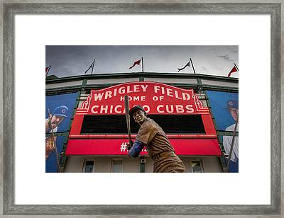 Ernie Banks Statue At Wrigley Field Framed Print by Mike Burgquist