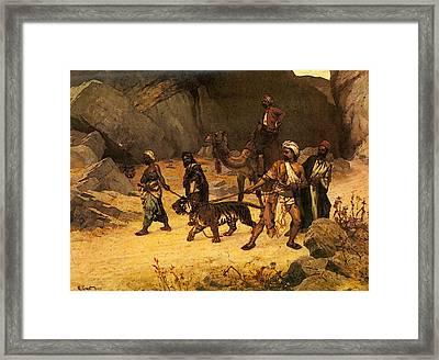 Ernst Rudolf The Tiger Hunt Framed Print by Rudolf Ernst