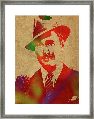 Errol Flynn Watercolor Portrait Framed Print
