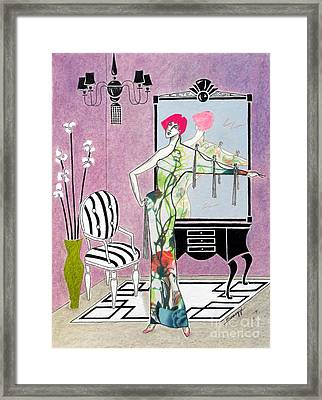 Erte'-esque -- Art Deco Interior W/ Fashion Figure Framed Print