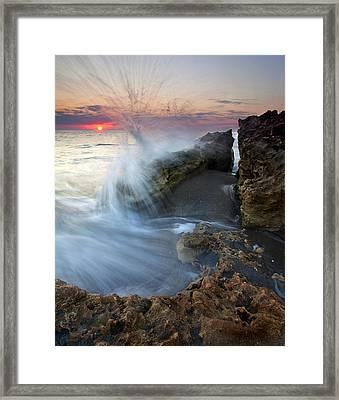 Eruption At Dawn Framed Print by Mike  Dawson