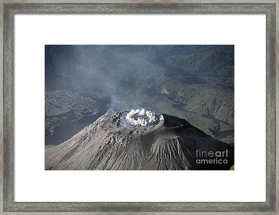 Eruption At Summit Of Santiaguito Dome Framed Print by Richard Roscoe