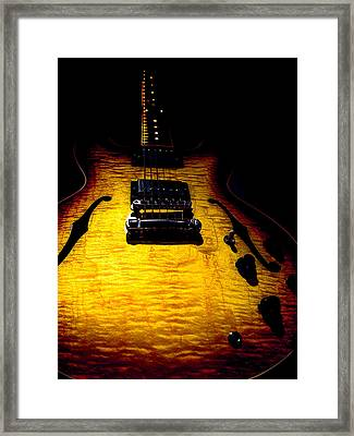 Framed Print featuring the digital art Es-335 Dots Flame Burst Spotlight Series by Guitar Wacky