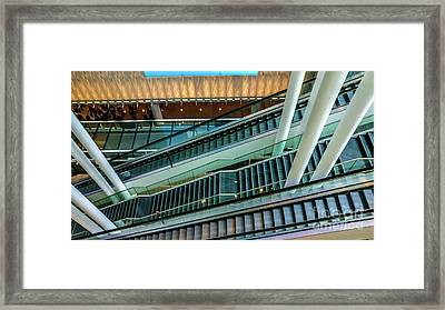 Escalators And Columns In Munich Airport Framed Print