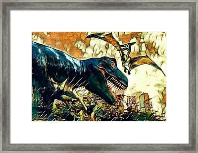 Escape From Jurassic Park Framed Print