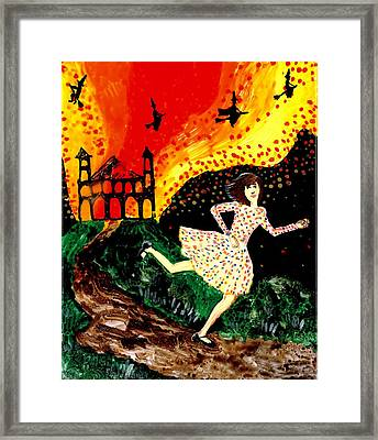 Escape From The Burning House Framed Print by Sushila Burgess