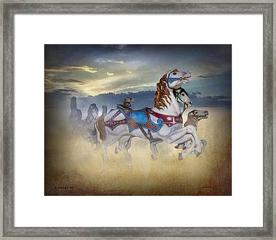 Escape Of The Carousel Horses Framed Print by Brian Wallace