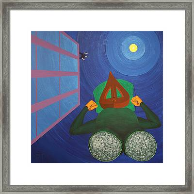 Escaping Relic Fashions Parachute From Leg Material Framed Print by Rudy Pavlina