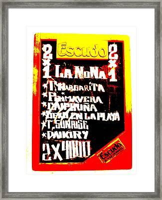 Escudo Bar Menu In Santiago  Framed Print