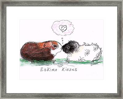Framed Print featuring the drawing Eskimo Kisses by Denise Fulmer