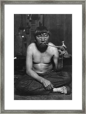Eskimo Smoking Pipe, Photograph Framed Print