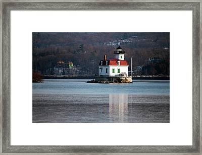 Esopus Lighthouse In December Framed Print by Jeff Severson