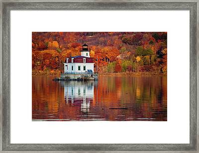 Framed Print featuring the photograph Esopus Lighthouse In Late Fall #2 by Jeff Severson