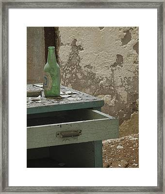 Esp Bottle And Table 0056 Framed Print by Bob Neiman