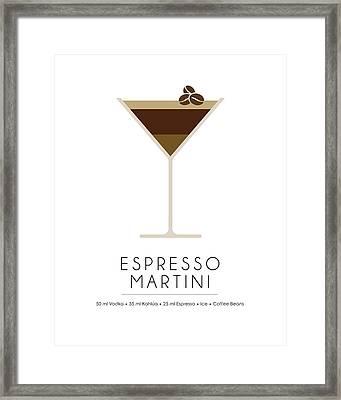 Espresso Martini Classic Cocktail - Minimalist Print Framed Print
