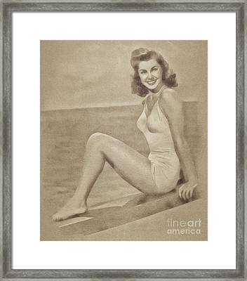 Esther Williams, Vintage Actress And Pinup By John Springfield Framed Print by John Springfield