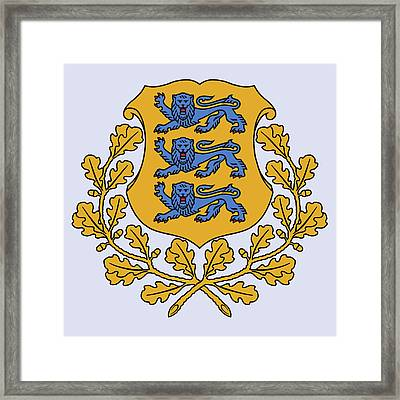 Framed Print featuring the drawing Estonia Coat Of Arms by Movie Poster Prints