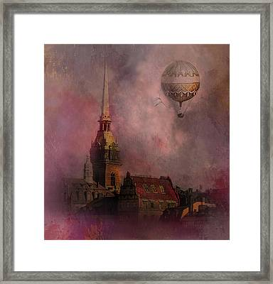 Framed Print featuring the digital art Stockholm Church With Flying Balloon by Jeff Burgess