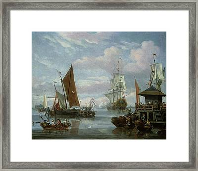 Estuary Scene With Boats And Fisherman Framed Print by Johannes de Blaauw