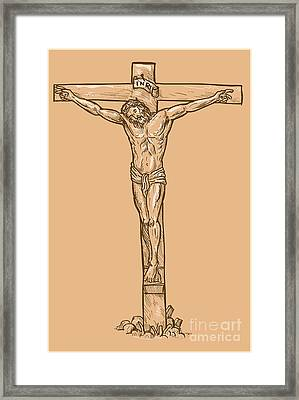 esus Christ hanging on the cross Framed Print by Aloysius Patrimonio