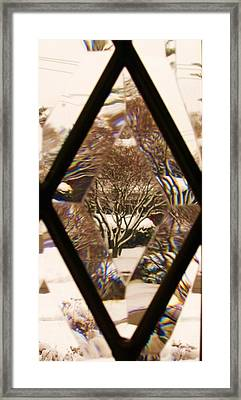 Etched Window View Framed Print by Anna Villarreal Garbis