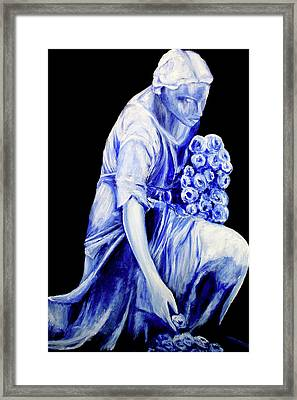 Flower Girl In Blue Framed Print