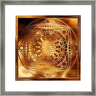 Eternity Mandala Golden Zebrawood Framed Print