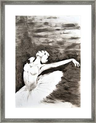 Ethereal Black And White Ballerina Poster 4  - By Diana Van Framed Print
